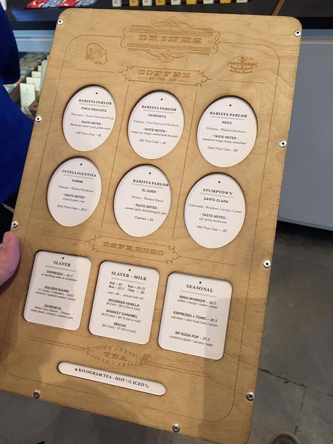 Barista Parlor's menu